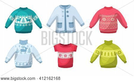 Cute Winter Warm Knitted Sweaters Set. Christmas Sweaters With Festive Winter Year Ornaments Deer, S