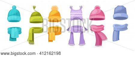 Cute Knitted Warm Autumn And Winter Clothing. Warm Kids Girl Hats And Scarves. Headwear And Accessor