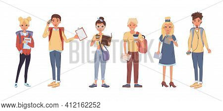 Group Of People Reading Books. Multicultural People Study Together. Girls And Boys Holding Books And