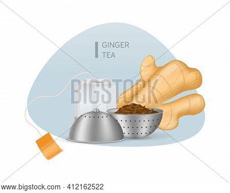 Realistic Black Tea In Choux Strainer, Ginger Root, Teabag Tea With Orange Label Vector Illustration