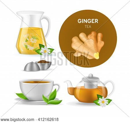 Realistic Ceramic Cup With Hot Fresh Black Tea On Saucer With Mint Leaves, Ginger Tea, Teapots With