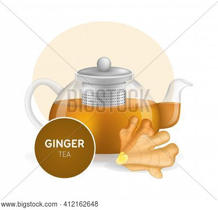 Realistic Glass Custard Transparent Teapot With Hot Fresh Ginger Tea And Ginger Root Infographic On