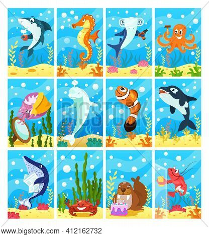 Cute Smiling Animals And Underwater World. Blue Whale, Seahorse, Fish, Crab, Lobster, Killer Whale,