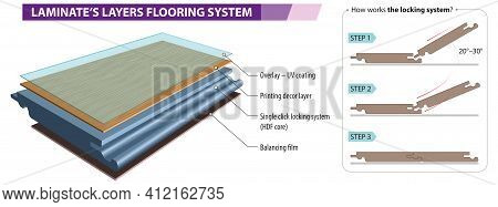 Vector Illustration Of The Layers Of Laminate Flooring - Laminate Click System.
