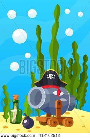 Pirate Theme. Vector Cartoon Cannon With Cannonball, Bottle Of Papyrus, Pirate Hat At Depths Of Sea,
