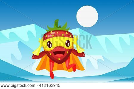 Funny Cartoon Character Fruit Strawberry Runs In Horror In Superhero Costume At Masks Emotion With H