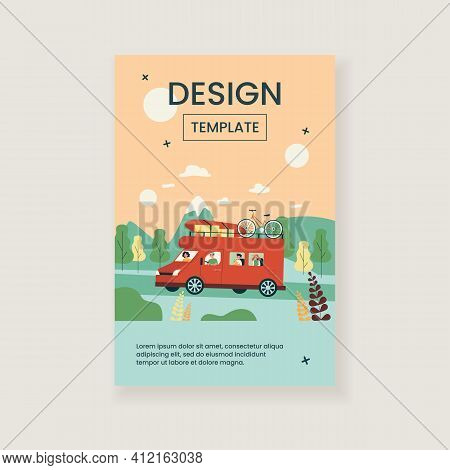 Happy Family Travelling In Van Isolated Flat Vector Illustration. Cartoon Dad, Mom And Children Driv