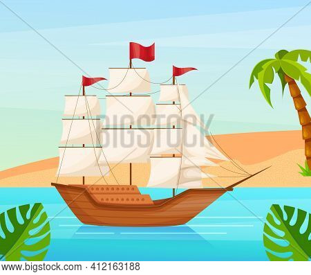 Maritime Ships At Sea, Sailboat, Frigate With Sails Near Tropical Beach With Palm. Water Transportat