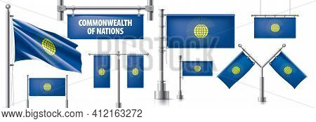 Vector Set Of The National Flag Of Commonwealth Of Nations