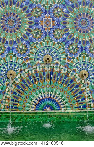 Beautiful Mosaic Water Fountain Next To A Mosque In Casablanca Morocco