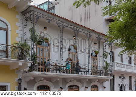 Panama City, Panama-march 03, 2019: Unidentified People On A Balcony In Casco Viejo, Historic Center