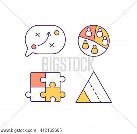 Marketing Strategy Rgb Color Icons Set. Strategic Planning. Audience Segmentation. Problem Solving T
