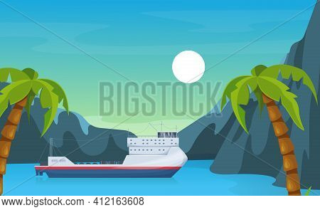 Maritime Ships At Sea, Ferryboat Near Tropical Palm And Mountain. Ferry Boat Water Transportation To