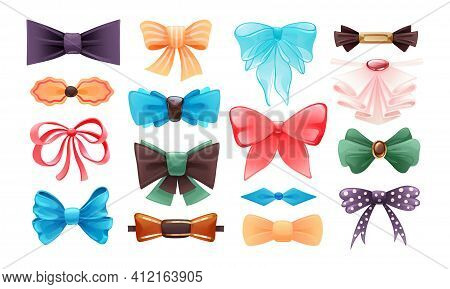 Fashion Colorful Tie Bow Accessories Cartoon With Tied Ribbons For Christmas Invitation. Color Silk