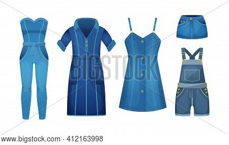 Denim Blue Clothing Jeans Female. Casual Outfit For Women. Blue Jean Garments For Trendy Look. Fashi