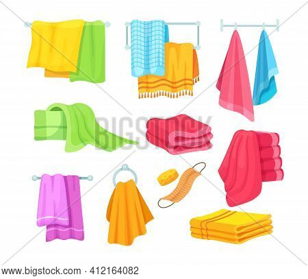 Bath And Kitchen Towels. Fabric Towel Hanging On Ring, Rolled Cloth Towels, Flying Towels Hanging Fr
