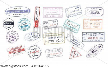 Stamp In Passport For Traveling An Open Passport. International Arrival Visa Stamps Vector Mexico, A