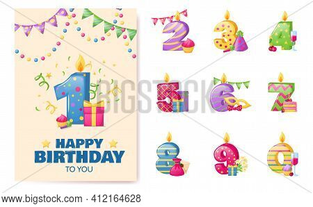 Birthday Anniversary Numbers Candle. Cheerful Gift Card With Numbers And Holiday Elements, Invitatio