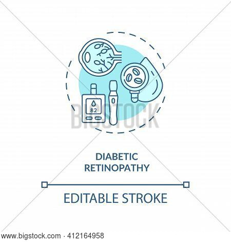 Diabetic Retinopathy Concept Icon. Adults Eyes Diseases. Damage Occurs To Eyeball Due To Diabetes Me