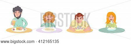 Students Lunch Time. Group Of People Eating Fast Food Lunch At The Table. Cartoon Vector Spaghetti,