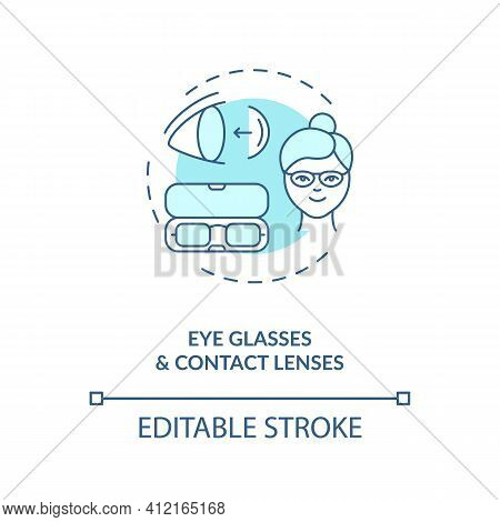 Eye Glasses And Contact Lenses Concept Icon. Eye Diseases Treatment Methods. Vision Diseases Treatme