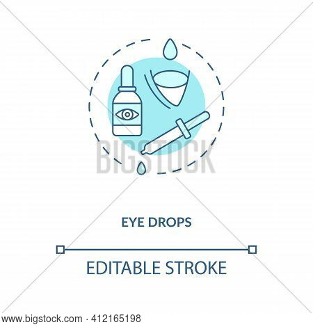 Eye Drops Concept Icon. Eye Diseases Treatment Methods. Drops Used As Ocular Route To Reduce Eye Pai
