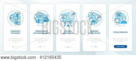 Emergency Eye Exam Reasons Onboarding Mobile App Page Screen With Concepts. Foreign Body Or Chemical