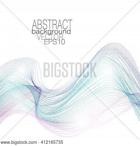 Blue, Turquoise, Magenta Flowing Waves. Dynamic Waveform Of Soft Gradient. Airy Line Art Pattern. Fl