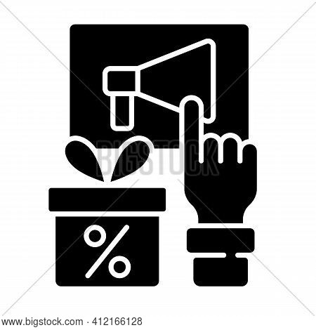 Sharing Post To Get Discount Black Glyph Icon. Obtaining Discount For Activities In Social Networks