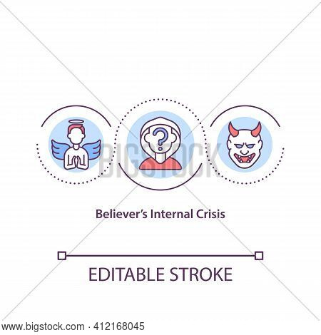 Believers Internal Crisis Concept Icon. Questioning Faith, Personal Spirituality. Religious Issues I