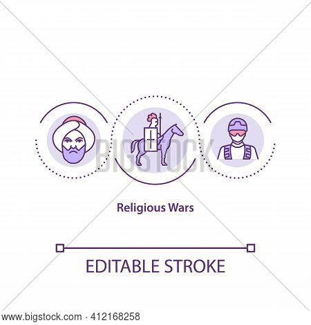 Religious Wars Concept Icon. Armed Soldier. Holy War. Social Problem. Army Conflict. Religious Issue