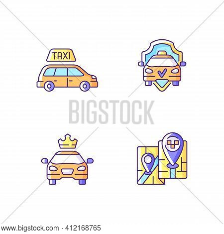 Modern Taxi Service Rgb Color Icons Set. Safe Ride. Convenient Service For Ordering Car. Long Distan