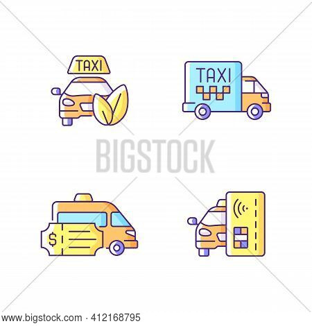 Eco-friendly Taxi Rgb Color Icons Set. Cargo Taxi. Convenient Service For Ordering Car. Special Even
