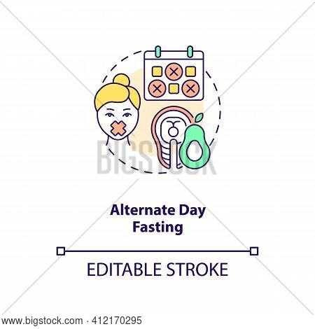 Alternate Day Fasting Concept Icon. Diet Plan. Eating Pattern. Weight Loss. Intermittent Fasting Ide