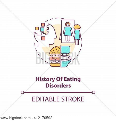 History Of Eating Disorders Concept Icon. Anorexia And Bulimia. Intermittent Fasting Precaution Idea