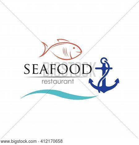 Seafood Restaurant Logo Design. Fish, Food And Beverage Logo Concept. Vector Logo Template