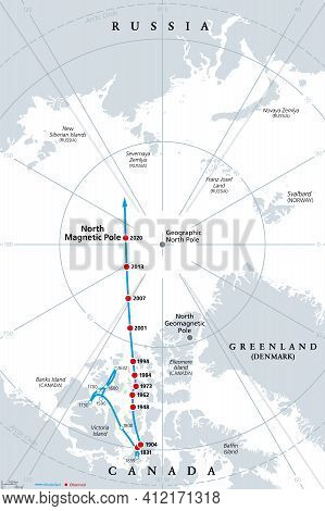 Polar Drift, Movement Of The Magnetic North Pole, Gray Political Map. North Magnetic Pole Of Earth,