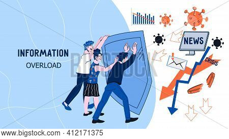 Information Overload Web Banner With People Protecting Themselves From Information Stream, Flat Vect