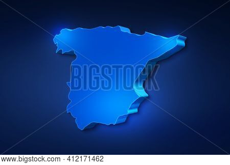 Blue 3d Map Of Spain A Dark Blue Background. 3d Illustration Of A Map Of Spain.