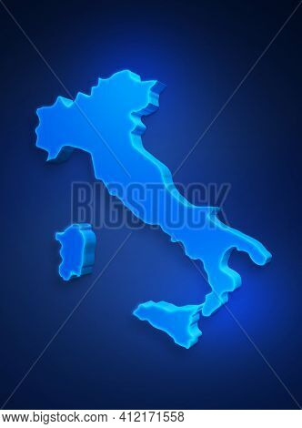 Blue 3d Map Of Italy On A Dark Blue Background. 3d Illustration Of A Map Of Italy.