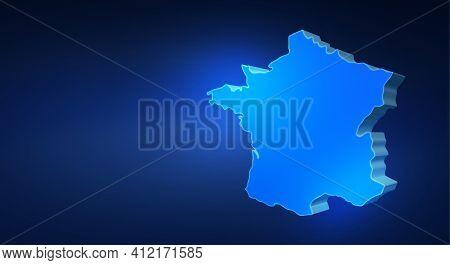 Blue 3d Map Of France On A Dark Blue Background. 3d Illustration Of A Map Of France.