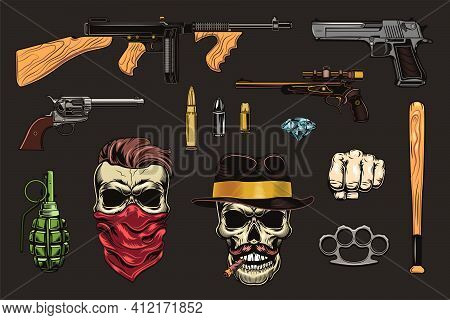 Black Mafia And Gangsters Flat Illustration Set. Colored Retro Bandit Skull, Pistol, Gun, Revolver I