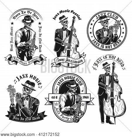 Vintage Badges With Jazzman Skeleton Vector Illustration Set. Monochrome Labels With Dead Musician S
