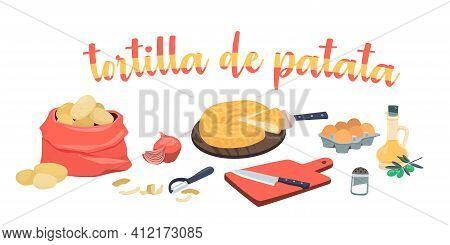 Spanish Potato Omelette Ingredients - Tortilla De Patata. Olive Oil, Onions, Potatoes, Eggs, Cutting