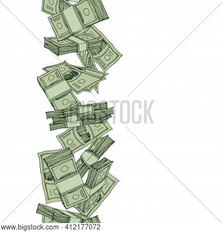 Vertical Seamless Money Pattern, Paper Banknotes, Pile Of Bucks, Financial Capital, Color Vector Ill