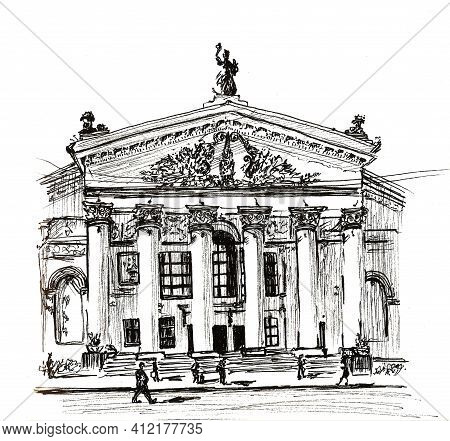 Architectural Elements And Details Of Building Gomel Regional Drama Theatre On The Main Square Of Le