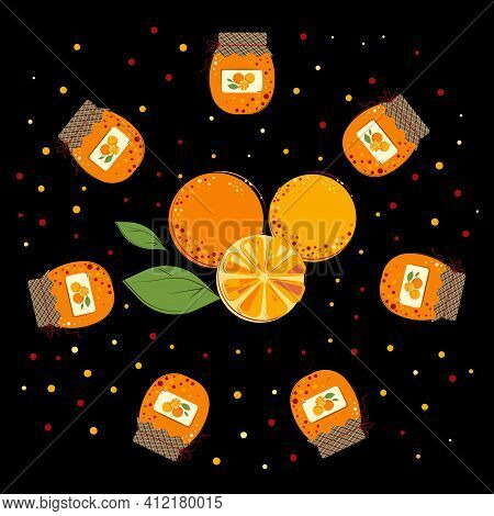 Round Composition Of Oranges And Orange Jam. Homemade Orange Jam.