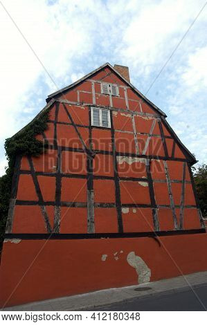 A Half Timbered Building Or Timber Frame Construction