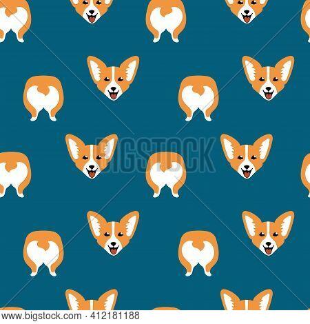 Cute Cartoon Corgi Face And Butt In Seamless Pattern On Blue Background. Children Textile Print. Vec