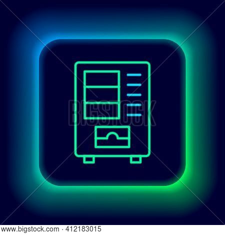 Glowing Neon Line Vending Machine Of Food And Beverage Automatic Selling Icon Isolated On Black Back